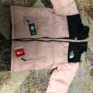 The north face tnf light pink nuptse puffer jacket